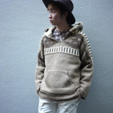 M エム / original native pattern knit mexican parka brown
