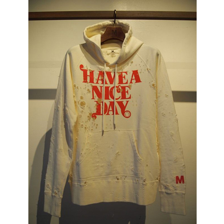 M エム / broken pullover parka (HAVE A NICE DAY) used white