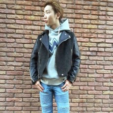 SEVESKIG セヴシグ / COWHIDE COMBI W-RIDERS JACKET GRAY