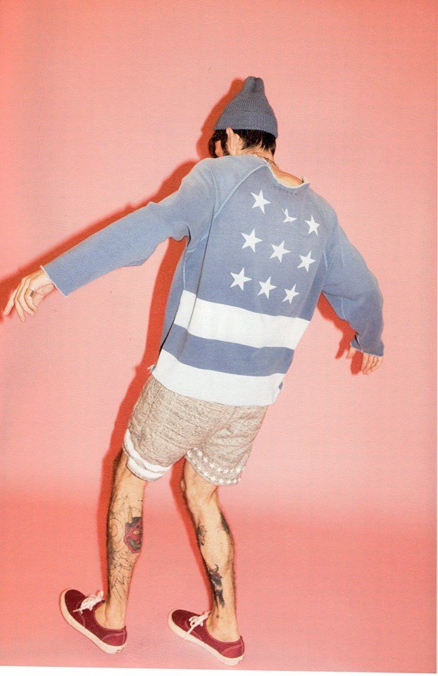 cut off used pullover sweat (flag)
