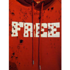 M エム / broken pullover parka (FREE) red