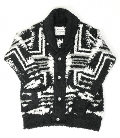 BIRVIN UNIFORM バービンユニフォーム / Native Patterned Shawl Collar Knit Black