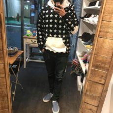 M エム パーカー / sweat pull over hoodie (star pattern) black